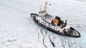 large ship stuck in sea ice