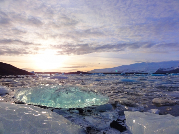 Ice and glacier at sunset.