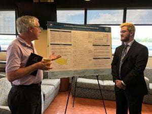 CSWCR Director David Titley talks with Jacob Muller at the REU Poster Session